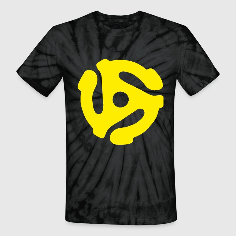 45 Record Adapter Yellow Tie-Dye Shirt - Unisex Tie Dye T-Shirt