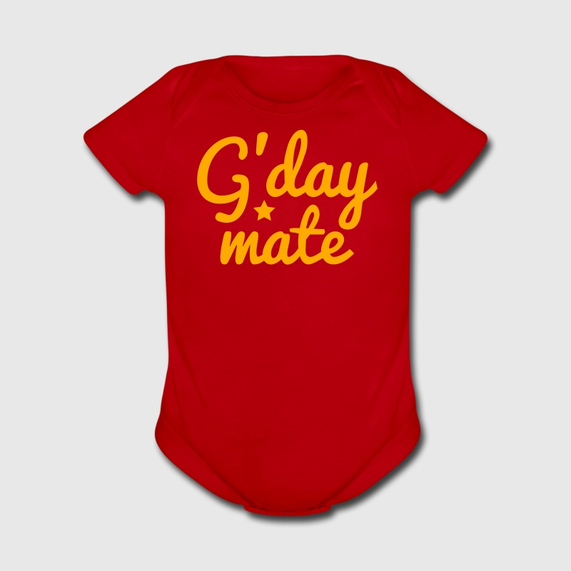 g'day mate (hello chap) Baby Bodysuits - Short Sleeve Baby Bodysuit