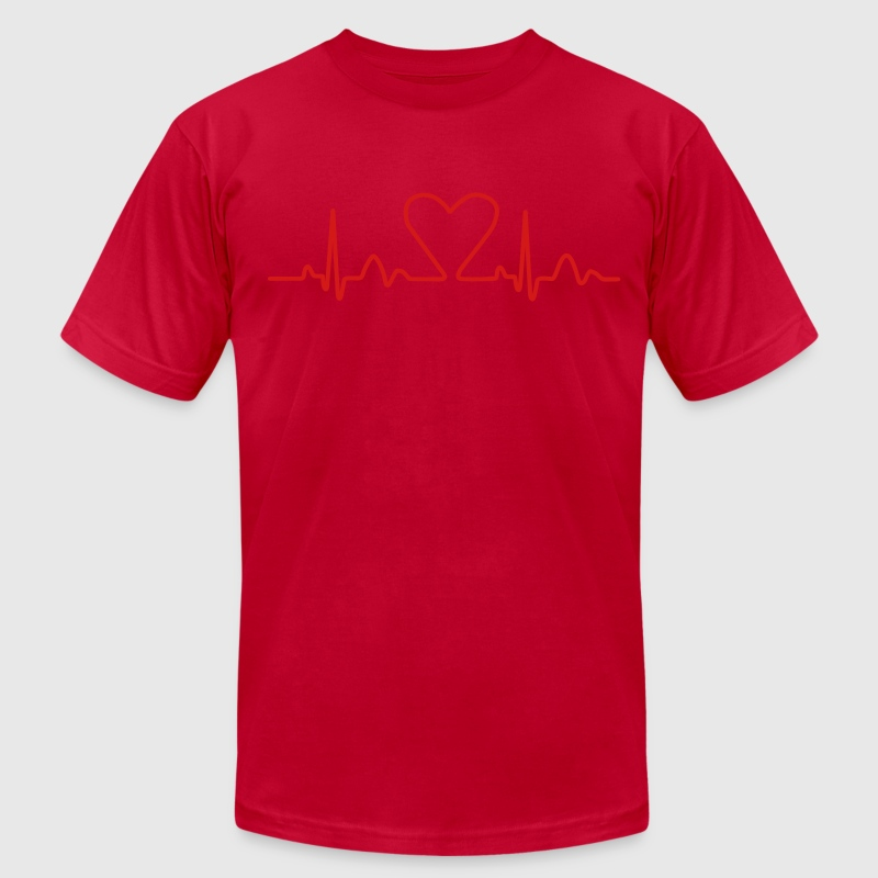 Lines of Heart electrocardiogram heart pulse heart, loving couples, Valentine's Day T-Shirts - Men's Fine Jersey T-Shirt