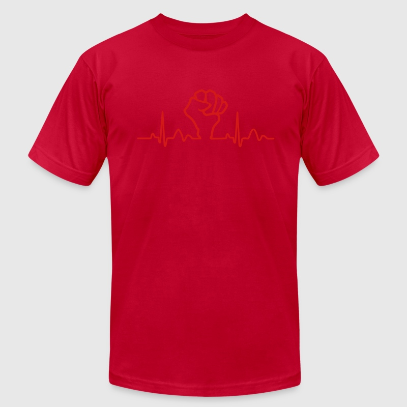 Lines of Heart Fist electrocardiogram heart pulse T-Shirts - Men's T-Shirt by American Apparel