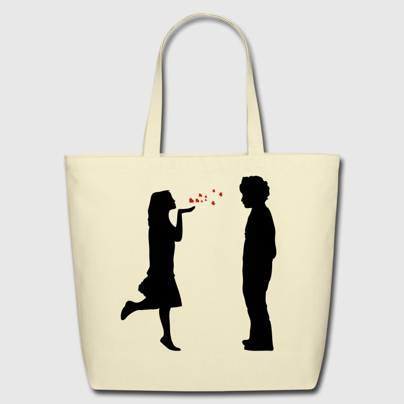 lovers twosome valentine valentines day let me be your valentine love  hearts flying kiss hand couple pair Bags  - Eco-Friendly Cotton Tote