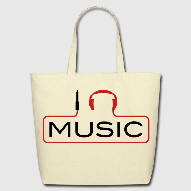 I love music plug headphones sound bass beat catch cable music i love techno minimal house club dance dj discjockey electronic electro Bags  - Eco-Friendly Cotton Tote