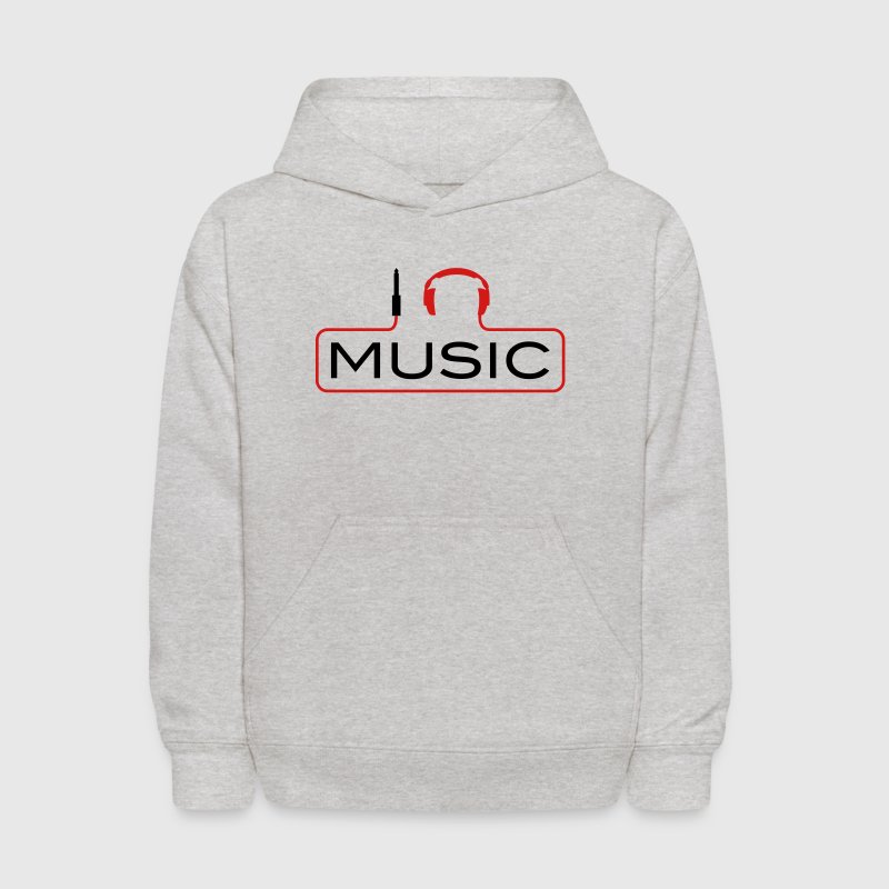 I love music plug headphones sound bass beat catch cable music i love techno minimal house club dance dj discjockey electronic electro Sweatshirts - Kids' Hoodie
