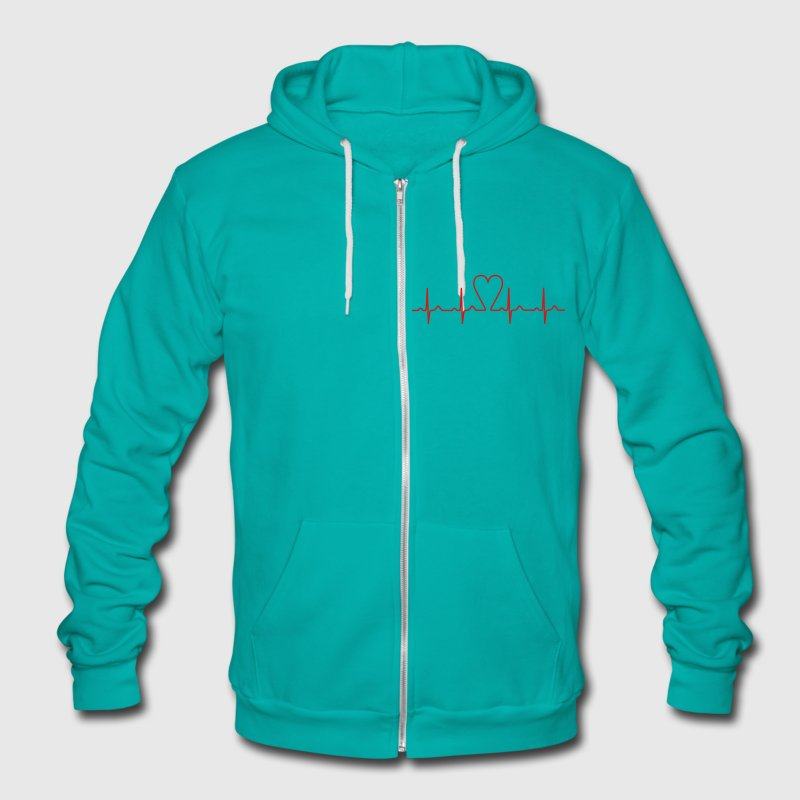 heartbeat Zip Hoodies/Jackets - Unisex Fleece Zip Hoodie by American Apparel