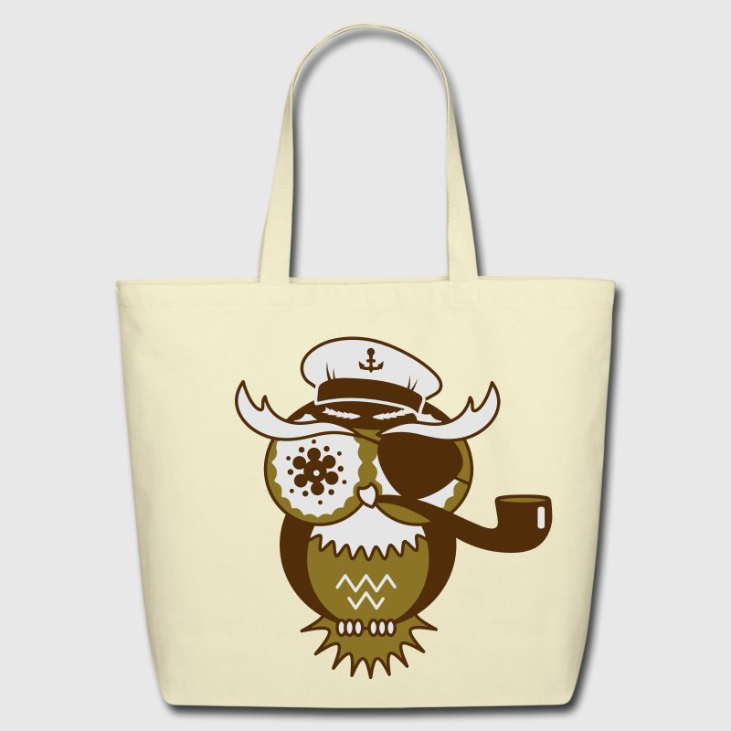 An owl with captain's hat, eye patch and pipe tobacco Bags  - Eco-Friendly Cotton Tote