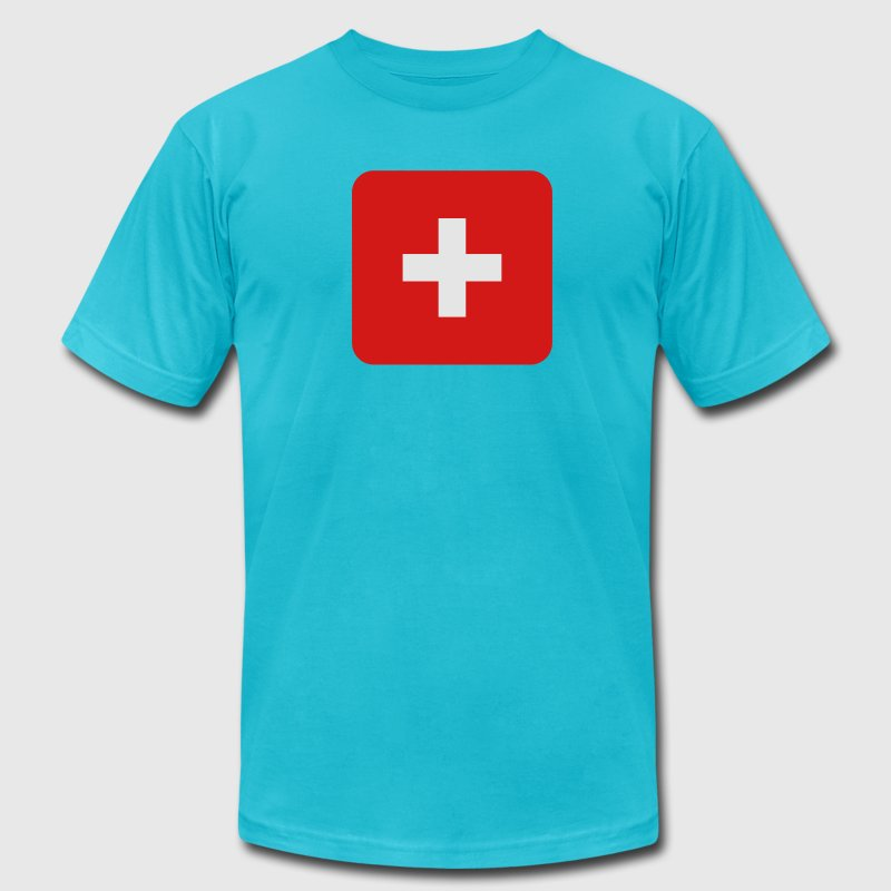 MEDIC white cross on a red button square rectangle T-Shirts - Men's T-Shirt by American Apparel