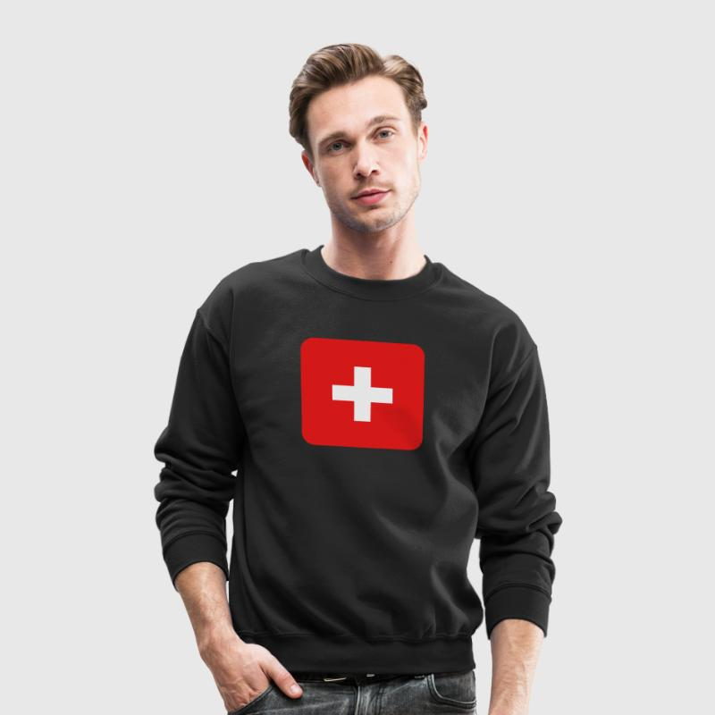 MEDIC white cross on a red button square rectangle Long Sleeve Shirts - Crewneck Sweatshirt
