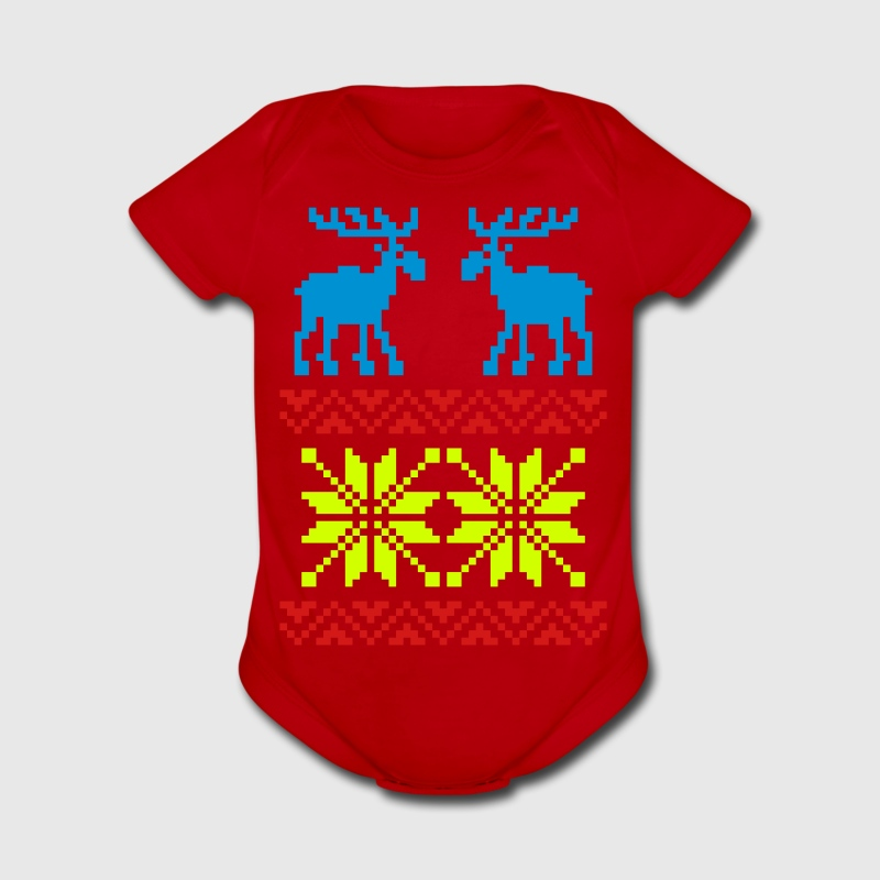 Moose Pattern Christmas Sweater / Glow in the Dark - Short Sleeve Baby Bodysuit