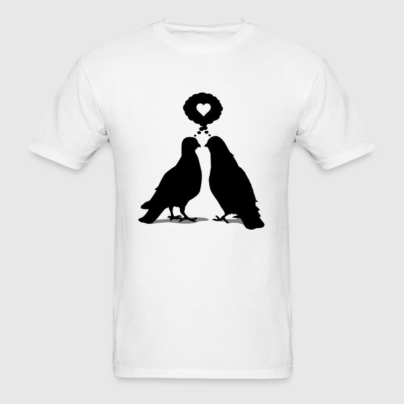Love thinking  Doves - Two Valentine Birds 2c Kids' Shirts - Men's T-Shirt