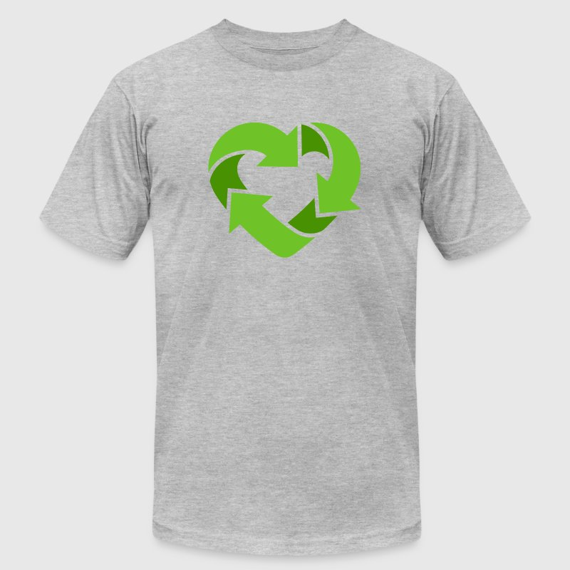 Recycling Heart (dd print) T-Shirts - Men's T-Shirt by American Apparel