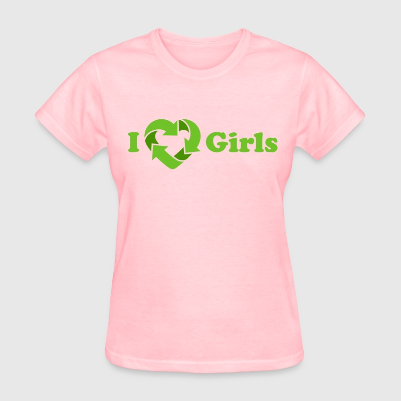 I love Girls - Recycle Heart (dd print) Women's T-Shirts - Women's T-Shirt