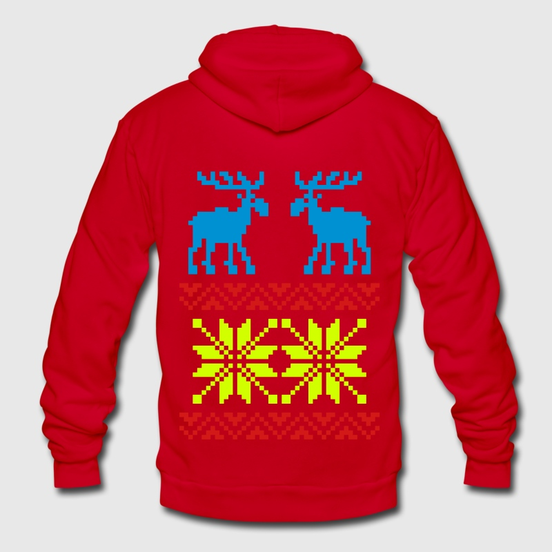 Moose Pattern Christmas Sweater - Unisex Fleece Zip Hoodie by American Apparel