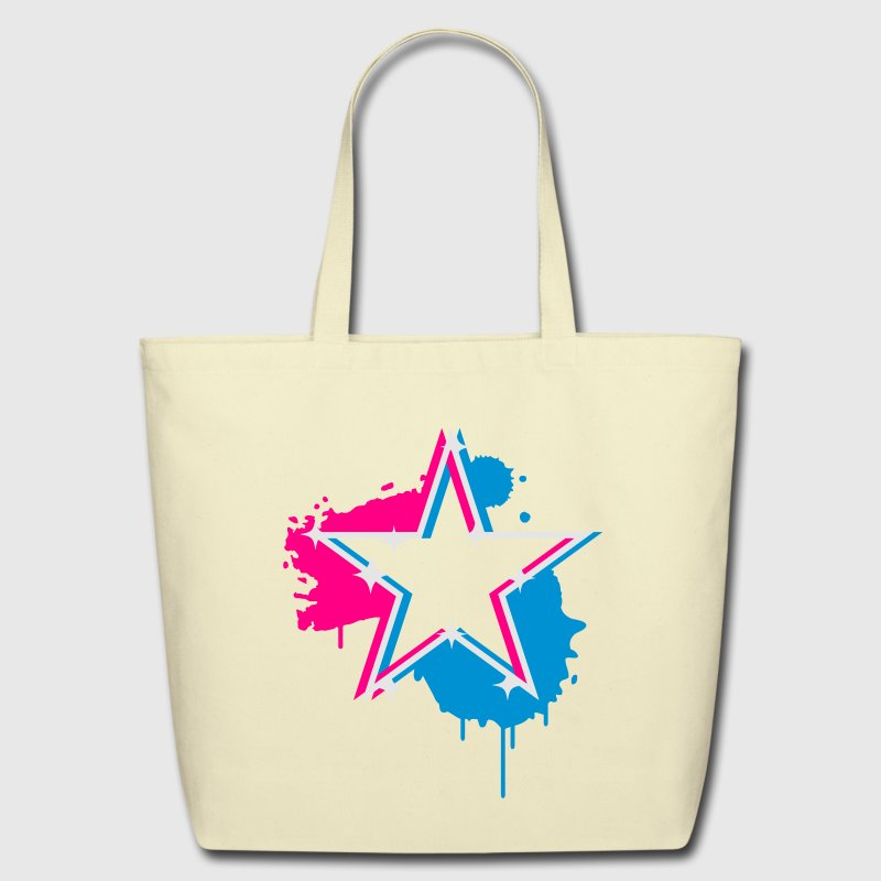 3D graffiti star design  Bags  - Eco-Friendly Cotton Tote