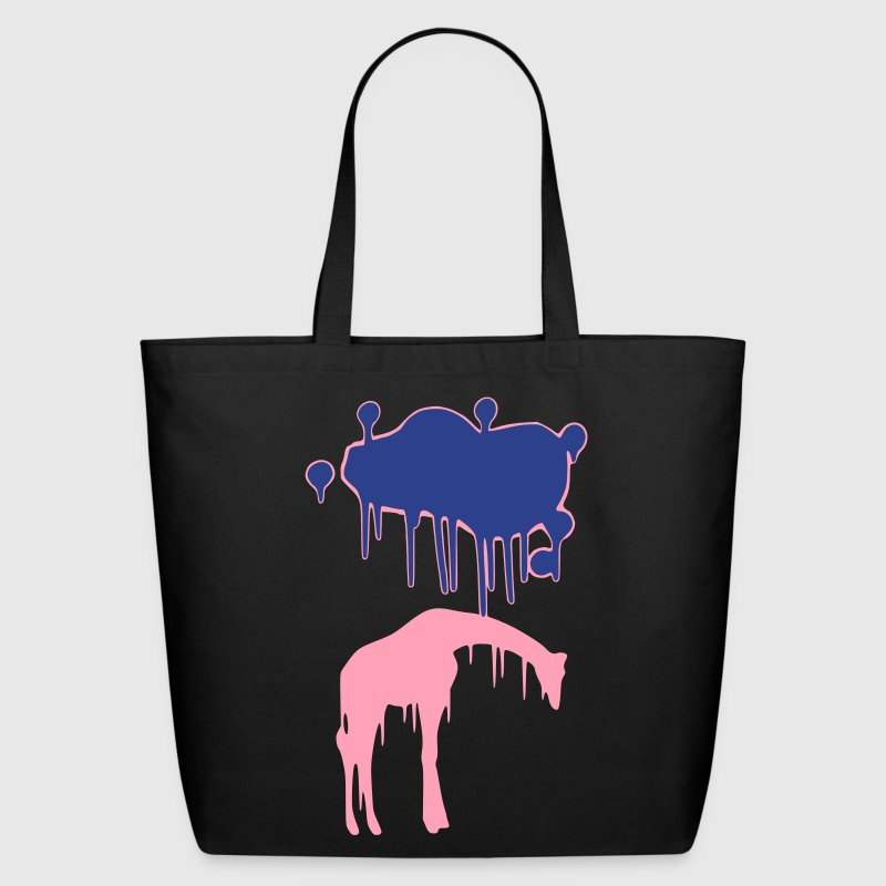 Giraffe Graphic Design Picture Vector - Cool Pink and Blue Animal Graffiti Giraffe Getting Rained on By a Paint Splatter Cloud! Emo, sad, funny, joke, cute Great for Ipad cases, iphone cases, hoodies, tshirts, tank tops, etc! Bags  - Eco-Friendly Cotton Tote