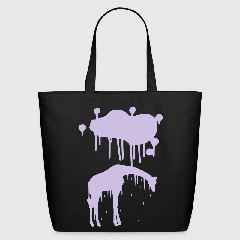 Giraffe Graphic Design Picture Vector - Cool Silver Animal Graffiti Giraffe Getting Rained on By a Paint Splatter Cloud! Emo, sad, funny, joke, cute Great for Ipad cases, iphone cases, hoodies, tshirts, tank tops, etc! Bags  - Eco-Friendly Cotton Tote
