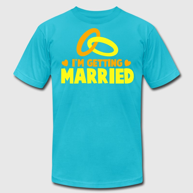 I'M GETTING MARRIED with cute love hearts and rings T-Shirts - Men's T-Shirt by American Apparel
