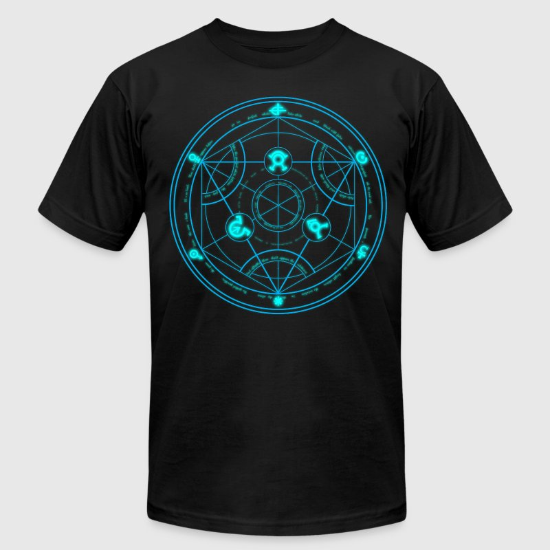 Human Transmutation Circle and Formula - Glow - Reverse - Men's T-Shirt by American Apparel