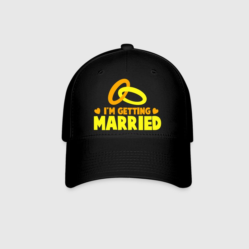 I'M GETTING MARRIED with cute love hearts and rings Caps - Baseball Cap