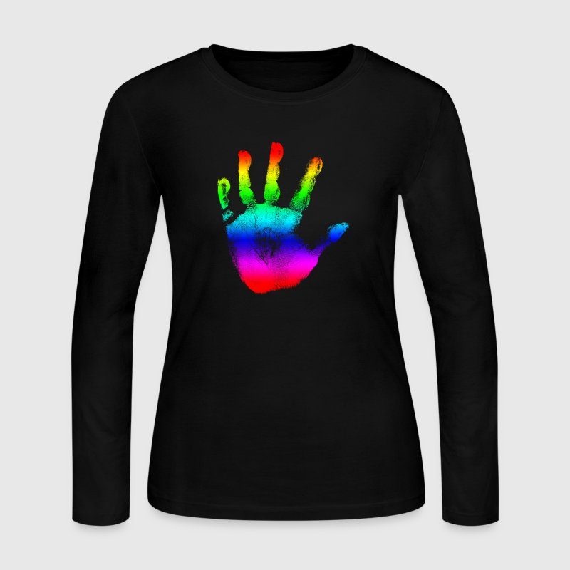 Hand print - Rainbow - Imprint, Fingerprint, palm, high five perfect for hoodies, tshirts, tanks, iphone cases, ipad cases, etc!  Long Sleeve Shirts - Women's Long Sleeve Jersey T-Shirt