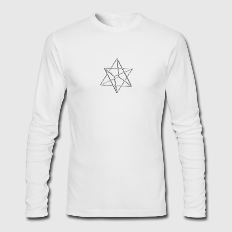 Merkaba, 3D, digital silver, divine light vehicle, sacred Geometry Long Sleeve Shirts - Men's Long Sleeve T-Shirt by Next Level
