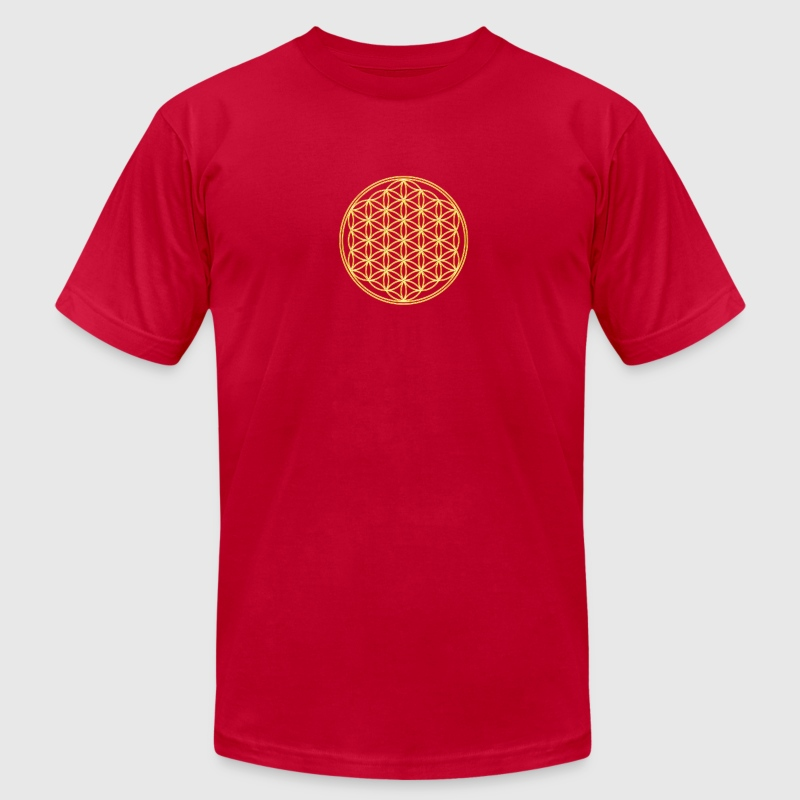 Flower of Life - Gold - FEEL THE ENERGY! Sacred Geometry, Healing Symbol, Energy Symbol, Harmony, Balance T-Shirts - Men's T-Shirt by American Apparel