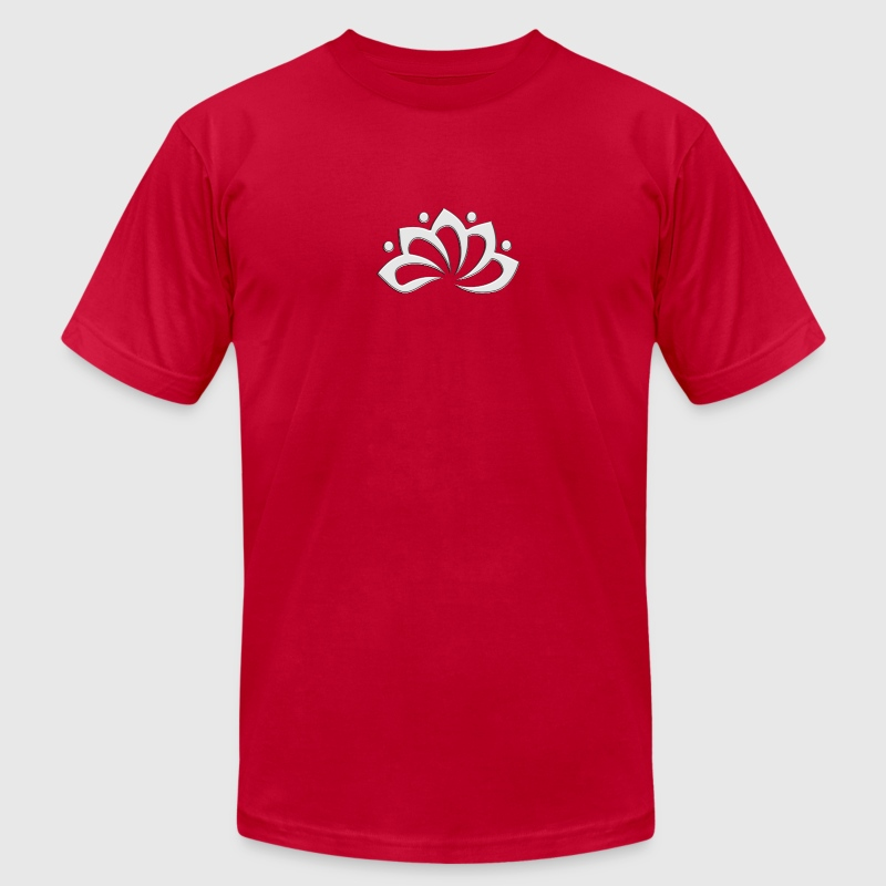 Lotus Flower, digital silver, symbol of perfection and enlightenment, sacred symbol T-Shirts - Men's T-Shirt by American Apparel