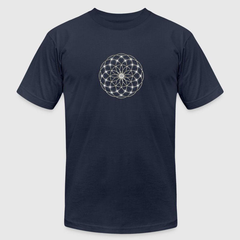 Flower of Life - Seed of Life - Tube Torus, DD silver, Energy Symbol, Sacred Geometry, T-Shirts - Men's T-Shirt by American Apparel