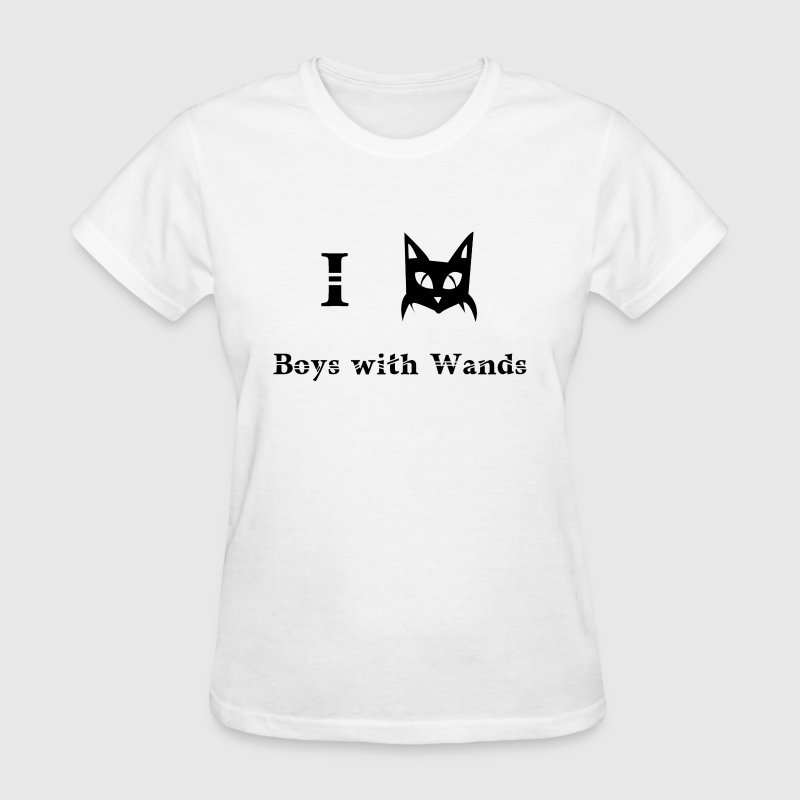 i love boys with wands magic pagan wizard black cat - Women's T-Shirt