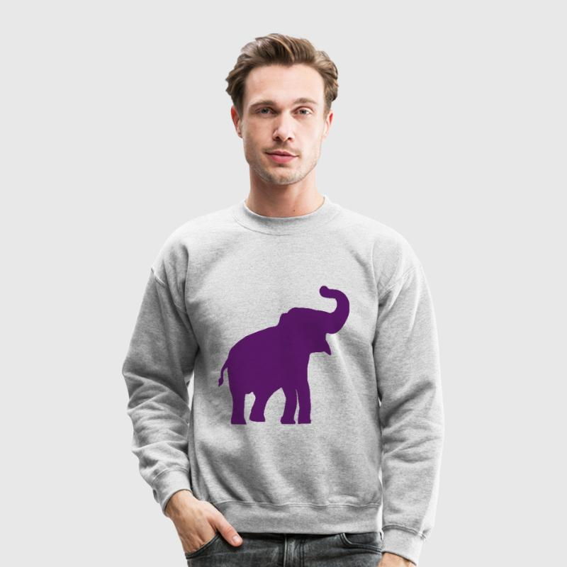 Purple Elephant Design Long Sleeve Shirts - Crewneck Sweatshirt