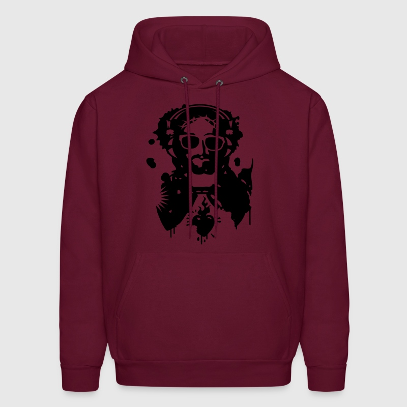 Jesus Graffiti with headphones and sunglasses Hoodies - Men's Hoodie