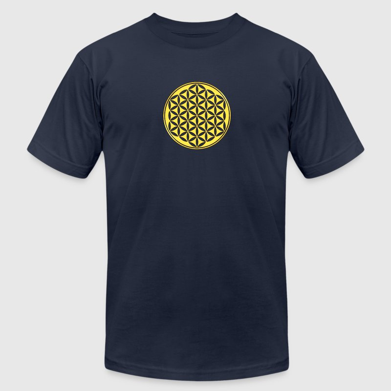 Flower of life - gold - sacred geometry - power of balancing and energizing, energy symbol T-Shirts - Men's T-Shirt by American Apparel