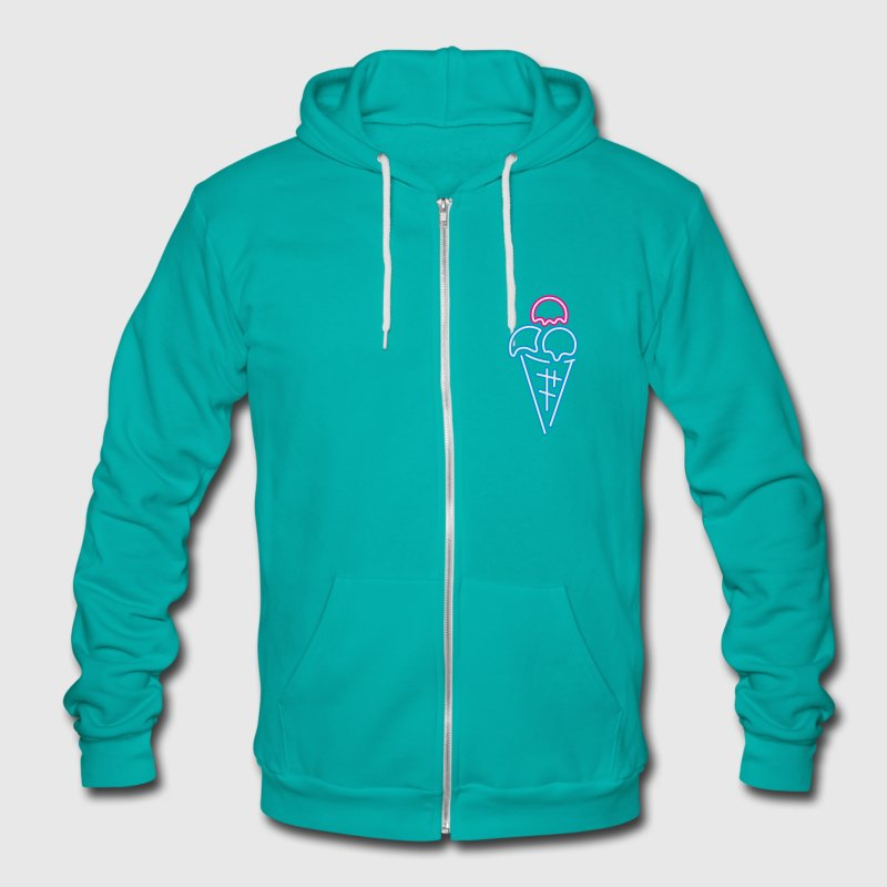 Neon sign scoops of ice cream with waffle Zip Hoodies/Jackets - Unisex Fleece Zip Hoodie by American Apparel