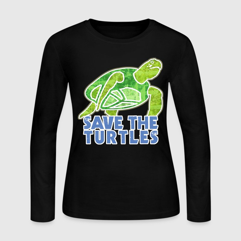 Save the Turtles - Women's Long Sleeve Jersey T-Shirt