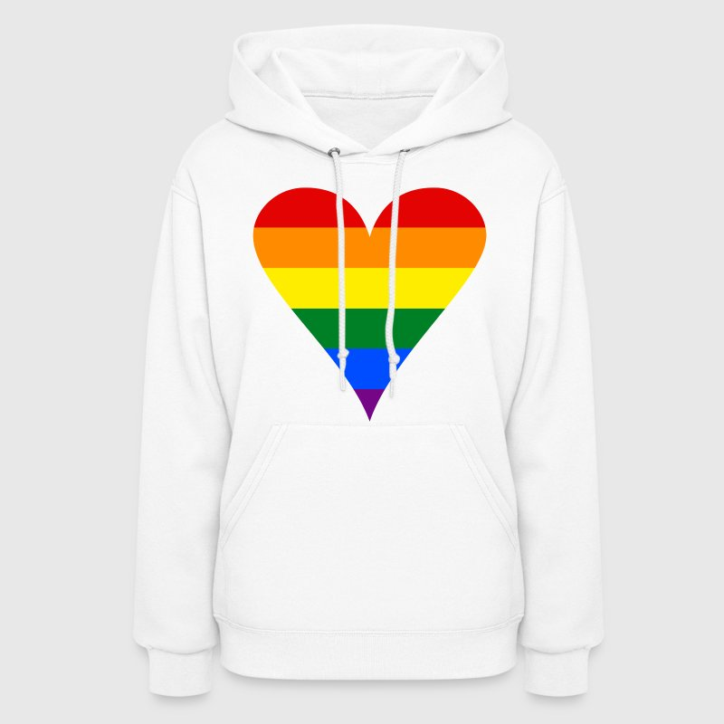 Gay Pride Rainbow Heart Funky Women's Hooded Sweatshirt - Women's Hoodie