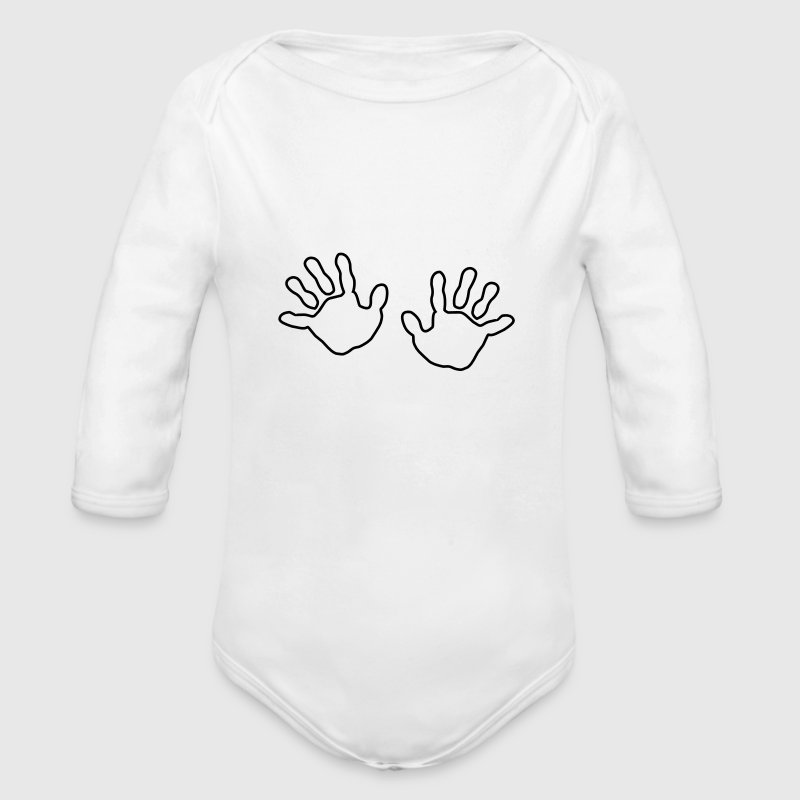 baby hands handprint  Baby Bodysuits - Long Sleeve Baby Bodysuit