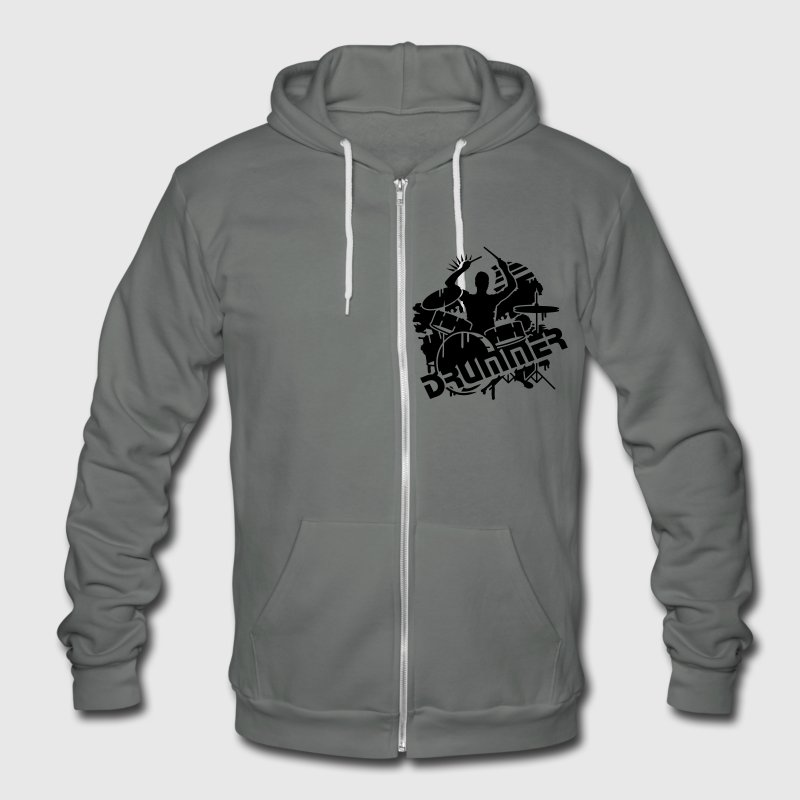 A drummer and his drums  Zip Hoodies/Jackets - Unisex Fleece Zip Hoodie by American Apparel