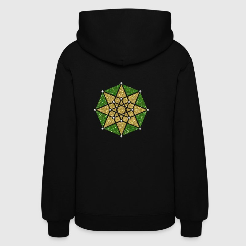 Hypercube 4D, TESSERACT, green gold, Symbol - Dimensional Shift, Metatrons Cube, Ishtar Star Hoodies - Women's Hoodie