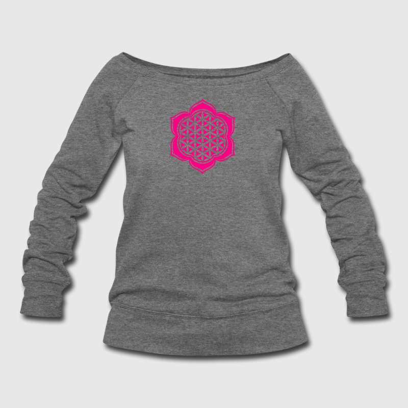 Flower of life, Lotus-Flower, vector 4, c, energy symbol, healing symbol Long Sleeve Shirts - Women's Wideneck Sweatshirt
