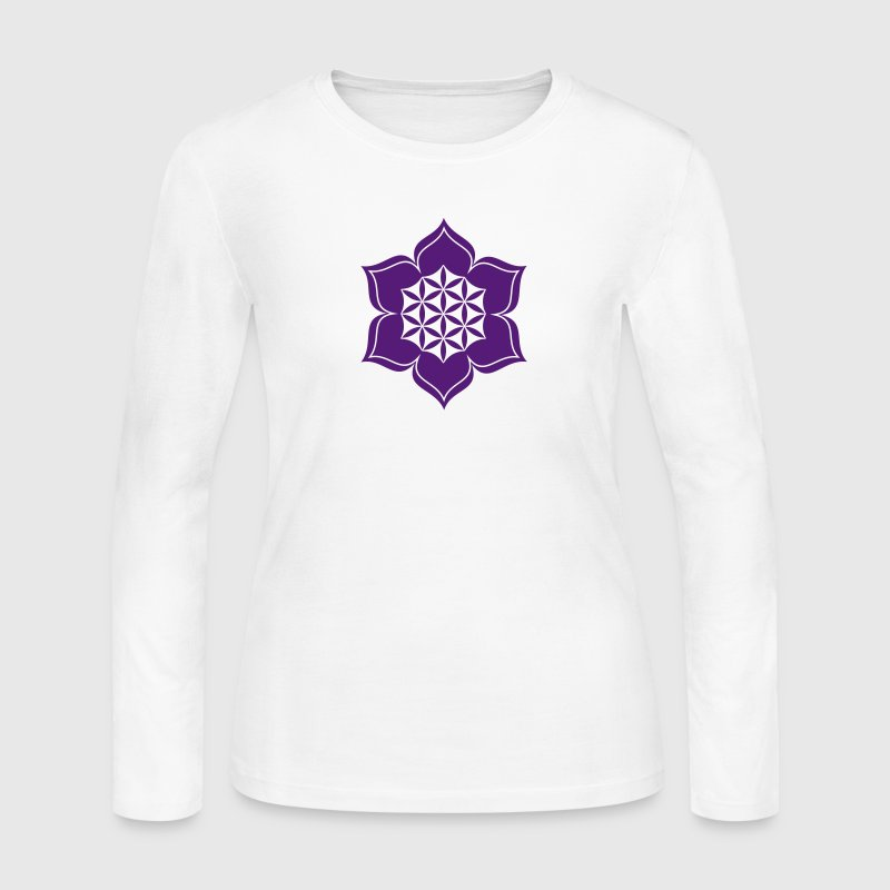 Flower of life, Lotus-Flower, vector, c, energy symbol, healing symbol Long Sleeve Shirts - Women's Long Sleeve Jersey T-Shirt