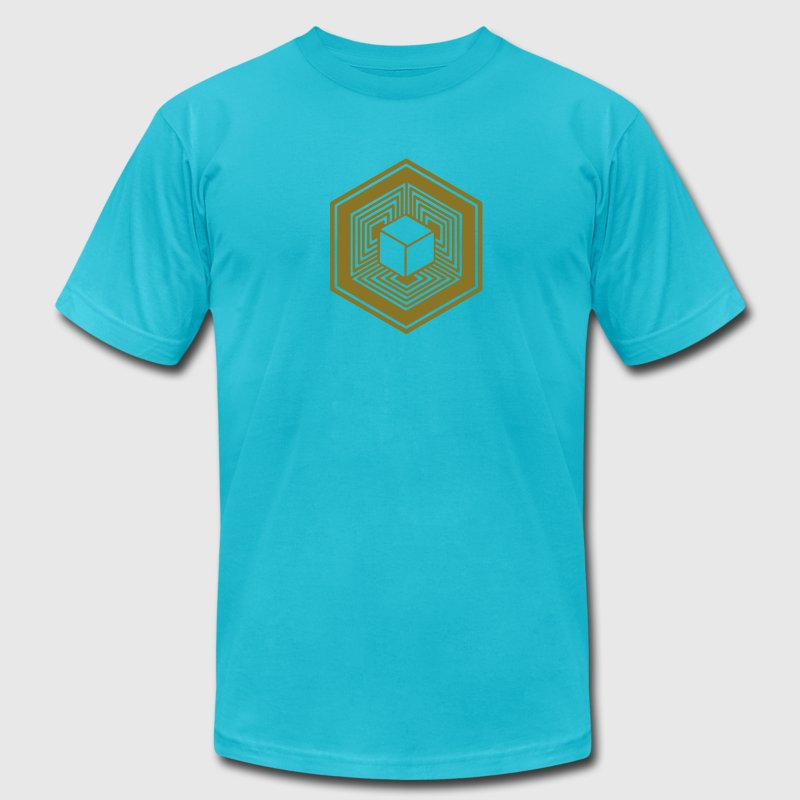 TESSERACT, Hypercube 4D, Crop Circle, 17th July 2010, Fosbury, Wiltshire, Symbol - Dimensional Shift T-Shirts - Men's T-Shirt by American Apparel