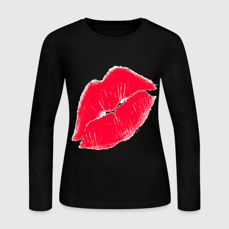 Red Kissing Lips Long Sleeve Shirts - Women's Long Sleeve Jersey T-Shirt