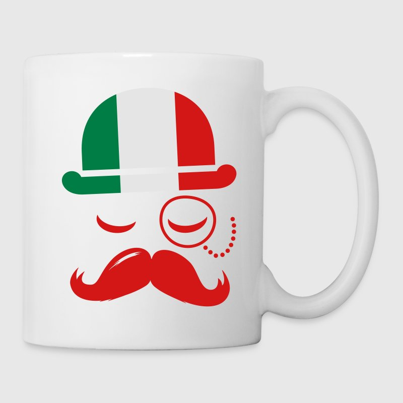 Italian nation fashionable vintage iconic gentleman with flag and Moustache olympics sports italy country Gift - Coffee/Tea Mug