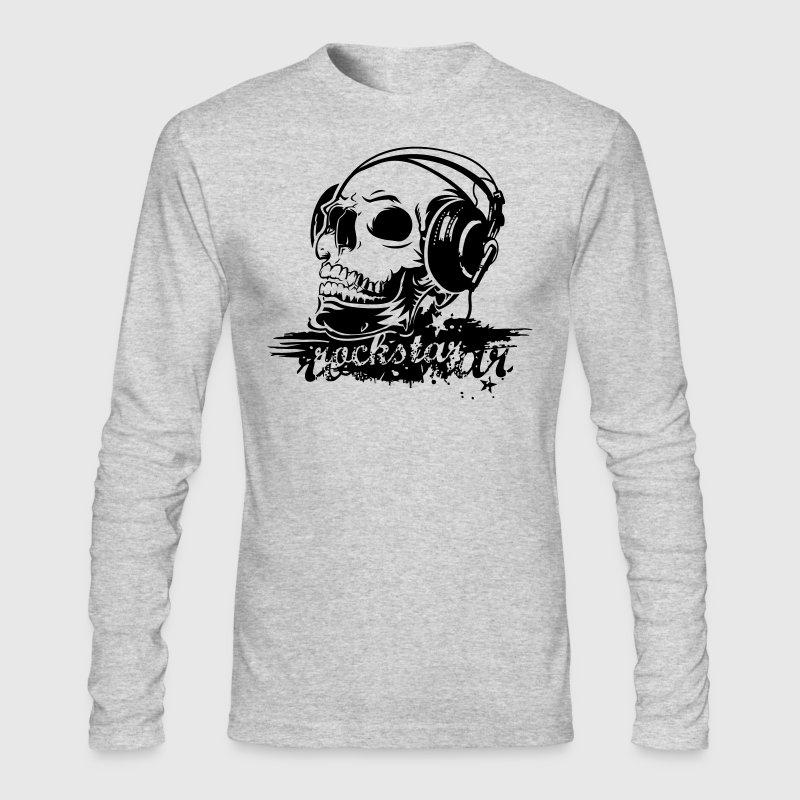 Fashionable cool vintage rock music star with skull for Cool long sleeve t shirts for men