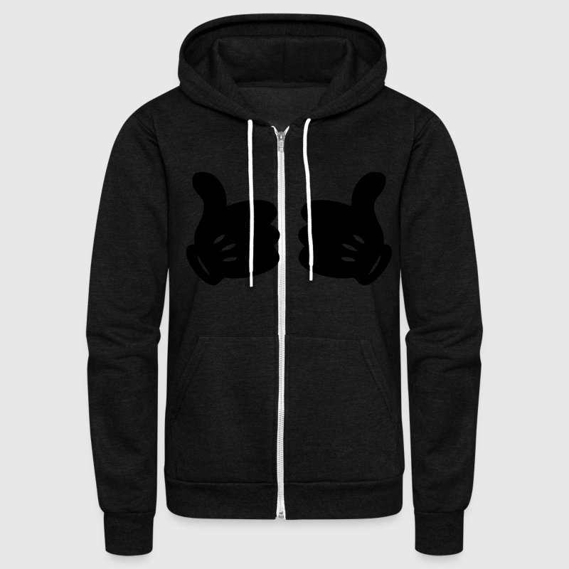 MICKEY HANDS THUMBS UP Zip Hoodies/Jackets - Unisex Fleece Zip Hoodie by American Apparel