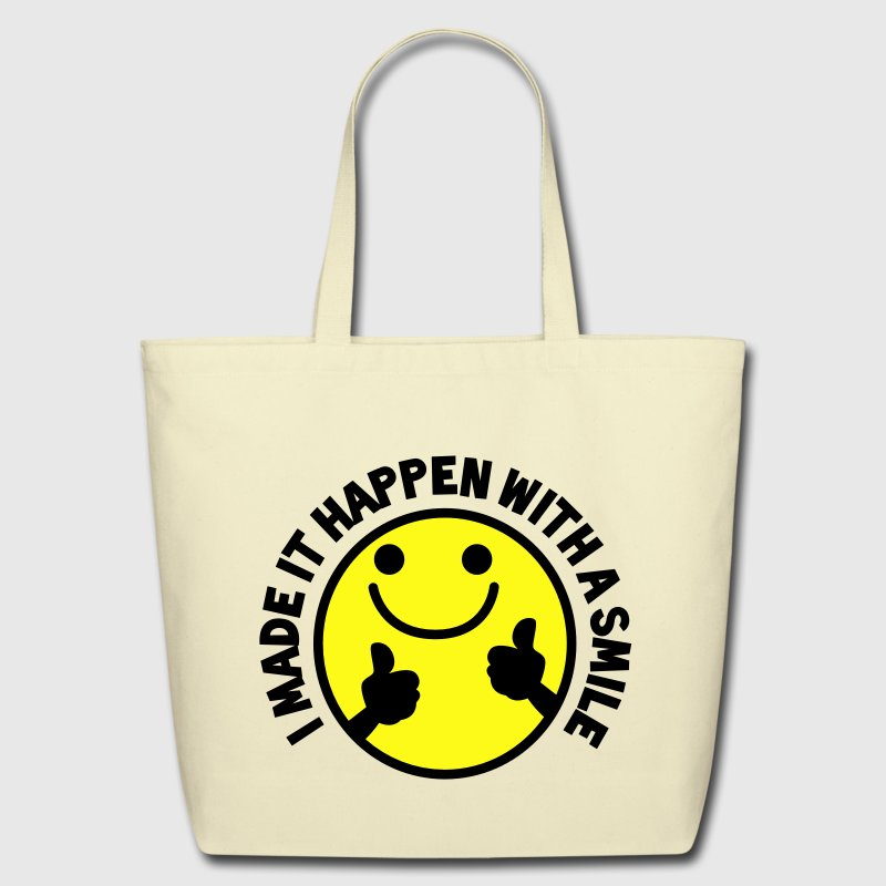 I MADE IT HAPPEN with a SMILE smiley with thumbs up! Bags  - Eco-Friendly Cotton Tote