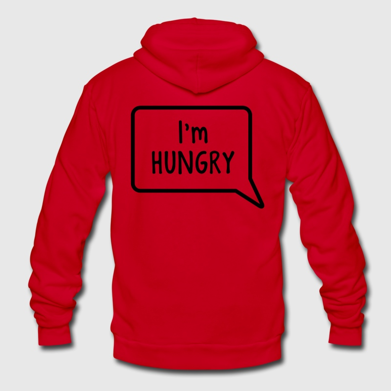 I'm hungry tummy stomach design Zip Hoodies/Jackets - Unisex Fleece Zip Hoodie by American Apparel