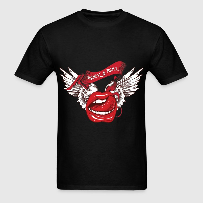 Rock N Roll Winged Lips T-Shirts - Men's T-Shirt