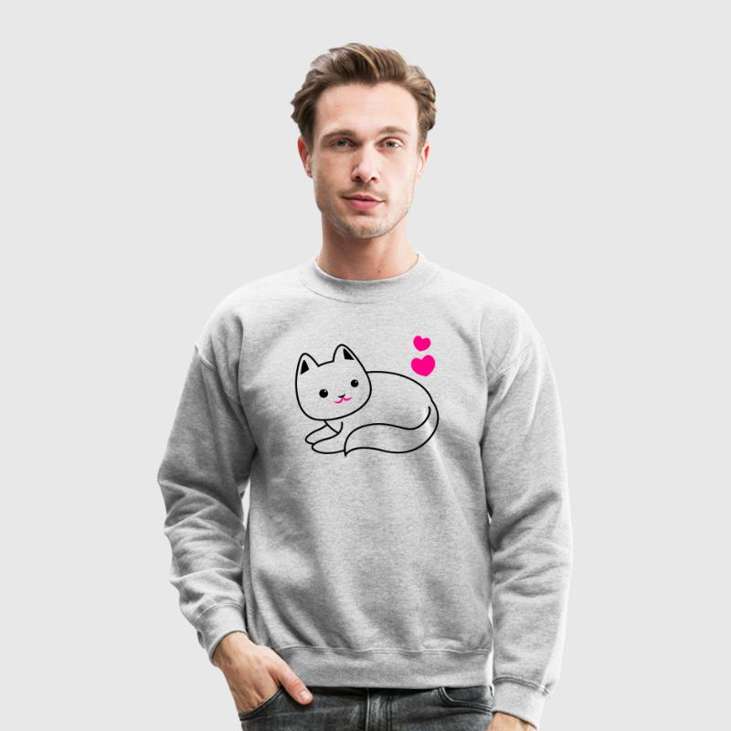 super cute kawaii cat kitty outline Long Sleeve Shirts - Crewneck Sweatshirt