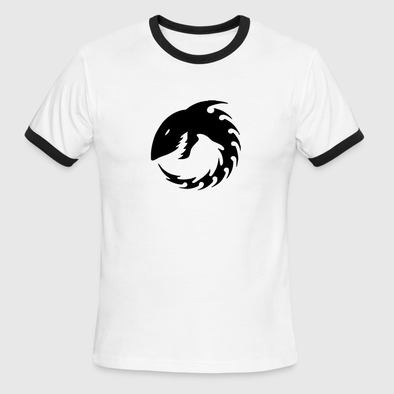 White/black Tribal Shark Men - Men's Ringer T-Shirt