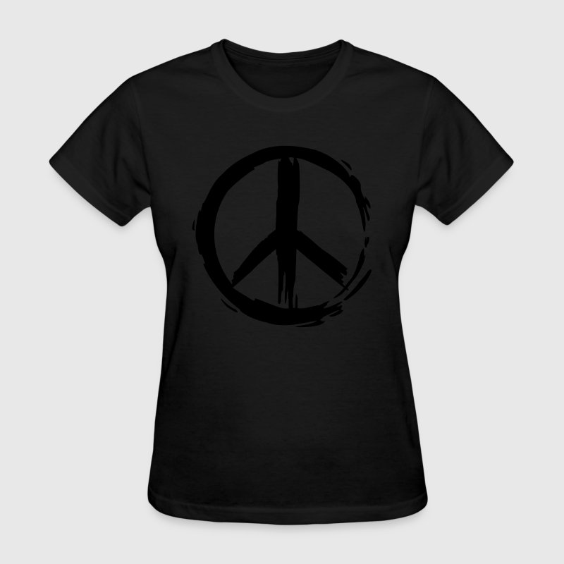 Black Painted Peace Symbol Women - Women's T-Shirt